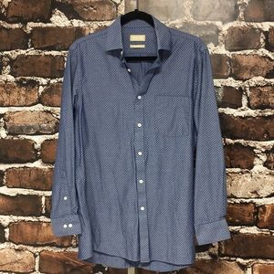 Michael Kors Button Shirt Chambray Dots Blue 15.5